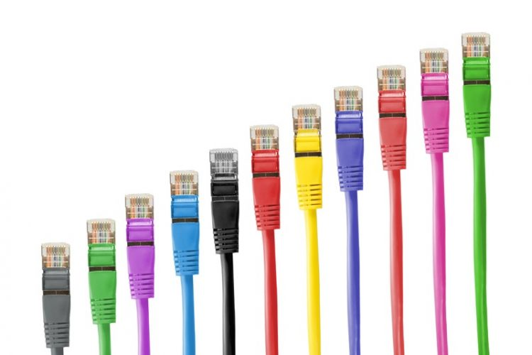 Ethernet cables of different colors