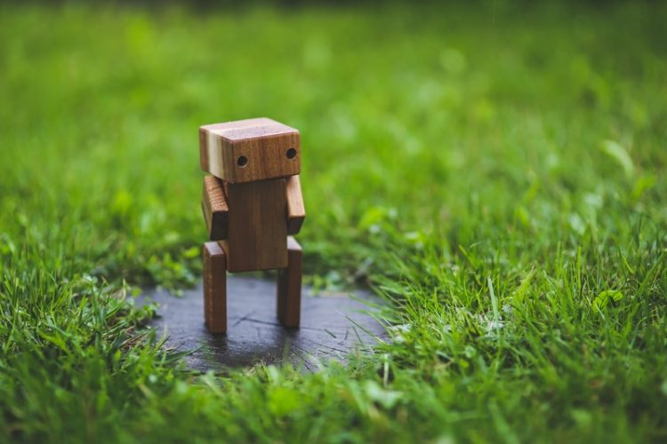 A cute robot standing on grass