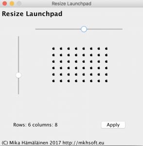 A screenshot of MKH Launchpad resizer for macOS