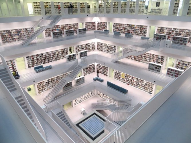 A library full of books that could make the perfect corpus